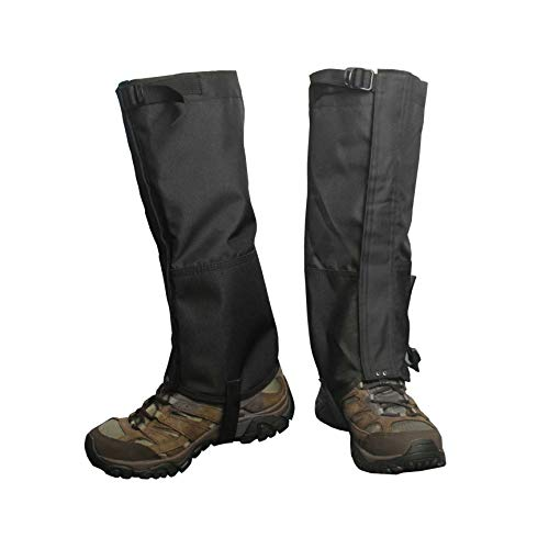 Frelaxy Leg Gaiters 900D Ultra Strong Waterproof Hiking Gaiters Snow Boot Gaiters Anti-Tear Oxford Fabric for Outdoor Walking Hunting Motorcycle for Men & Women (Black, XL)