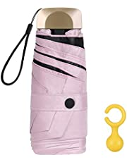 Vicloon Mini Ombrello, Ombrello Tascabile con Manico Dorato & 6 Nervature in Lega di Alluminio, Portatile Compatto Pieghevole Viaggio Ombrello, UPF>50+ Ombrello da Sole/Pioggia - Rosa