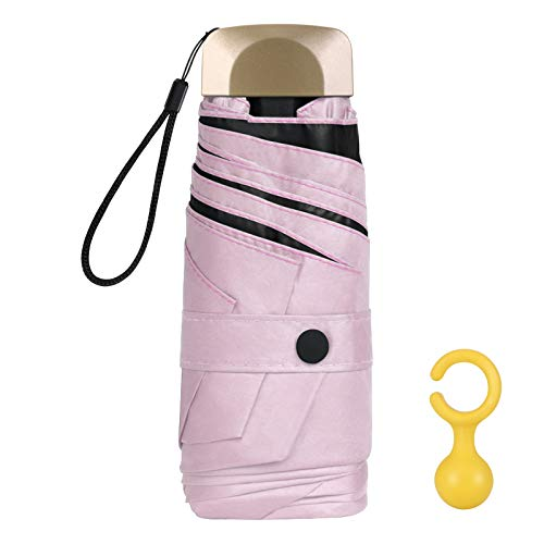 Vicloon Mini Regenschirm, Taschenschirme Mit 6 Rippen, 210T Stoff & Aluminium Schirmständer, Sonnenschutz Regenschirm Im Freien UV Faltender Regenschirm, Goldener Griff, Leicht Kompakt - Rosa
