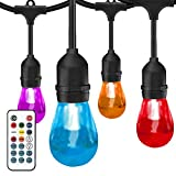 SUNTHIN Outdoor String Lights Color Changing, 42ft Patio Lights, 15 Sockets, 0.3 Watt S14 Edison Acrylic Shatterproof Bulbs, Commercial Grade, LED Café String Lights with Wireless Remote Control