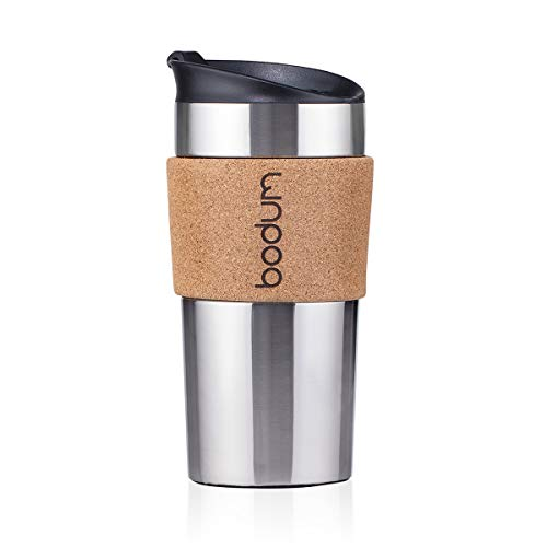 Bodum 11068-109S doppelwandig Travel Mug, Edelstahl, Edelstahl/Kork, 0.35 L, 9 x 8 x 18.5 cm, 1 Einheiten