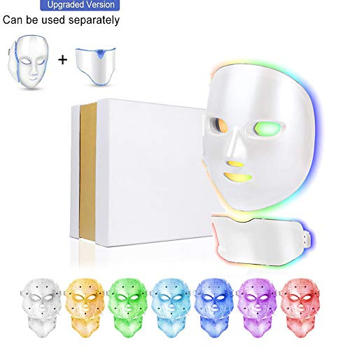 7 Colors LED Face Mask for Facial and Neck Skin Rejuvenation Anti Aging Light Photon Therapy Beauty Led Facial Mask
