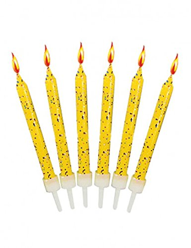 Bougies anniversaire jaunes pailletées (x12)