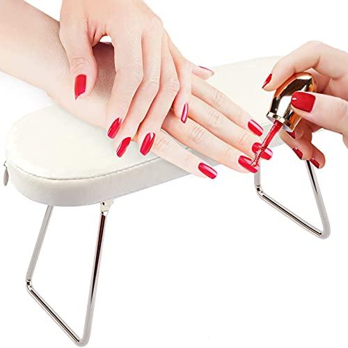 Cuscino per braccioli per unghie, EBANKU Manicure Cuscino per mani per unghie con staffa Cuscino per braccioli in pelle per tavolo per unghie- Bianca