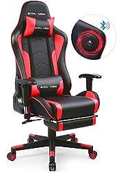 【Nouveau Design】Cette chaise ergonomique avec mécanisme d'inclinaison ajoute un autre super design, c'est le repose-pieds. Quand la somnolence vous frappe, vous pouvez mettre le dossier à l'angle maximun, tirer le repose-pied, et jouer de la musique ...