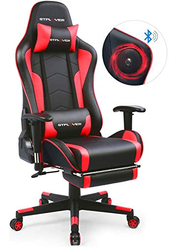 GTPLAYER Silla Gaming con Altavoz Bluetooth Reposapies Escritorio Oficina Gamer Ergonomica con Cojín Reposabrazos 3D Ajustables Respaldo Reclinable Multifuncional Rojo GTRACING Series
