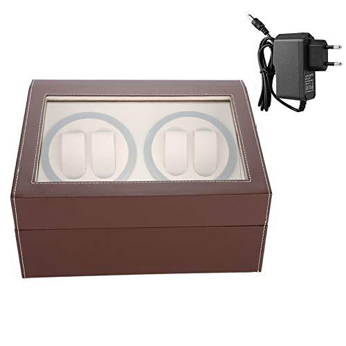 Display Box, Watch Winder Box, Automatisches Wippgehäuse für 4 Automatikuhren + 6 Gitter für Automatikuhren(brown, 8)