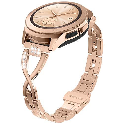 Ownaco Kompatible mit Samsung Galaxy Watch3 41mm ArmbandGalaxy Watch Active 2 40mm44mm Armband 20mm Metall Mailander Edelstahl Rose Gold Ersatzarmband Zubehor Ersatzband Band Uhrenarmband