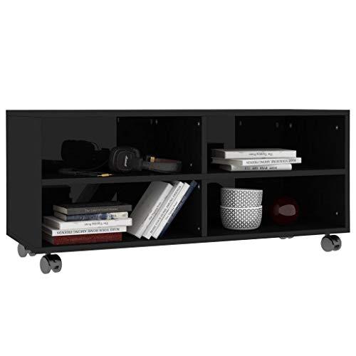 Ausla - Mueble para TV, mueble para salón con 4 ruedas, mueble de TV moderno, soporte para TV de madera, con 4 compartimentos abiertos, negro brillante, 90 x 35 x 35 cm