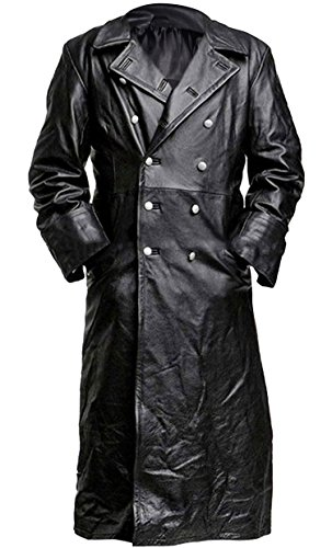 Mens Vintage German Classic WW2 Officer Military Uniform Black Leather Trench Coat Jacket