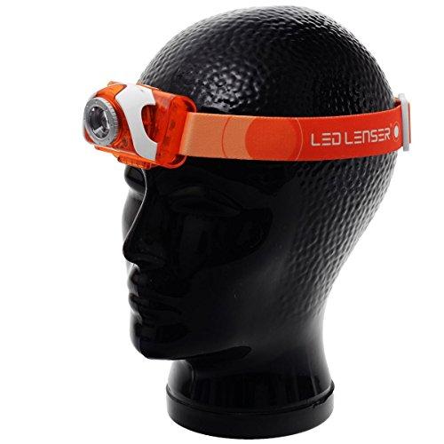 Ledlenser SEO3 LED Stirnlampe, helle 100 Lumen, 40 Stunden Laufzeit, batteriebetrieben, rotes Licht, orange, inkl. Batterien