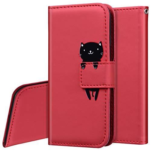 Surakey Handyhülle für Xiaomi Redmi 8A Hülle Leder Tasche Handytasche für Xiaomi Redmi 8A Schutzhülle Flip Hülle,Cartoon Tiere Muster Lederhülle Brieftasche Wallet Cover Kartenfächer Ständer,Rot