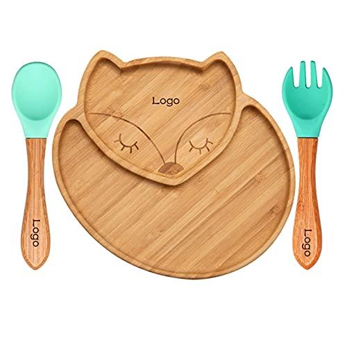 miaoyu Juego de cucharas de silicona de bambú natural para alimentación de bebés, para cenas de niños de alta silla (color personalizado)