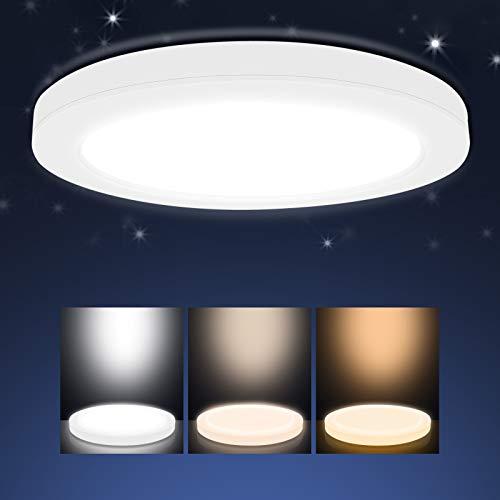 Aialun 18W LED Deckenleuchte, 1700LM LED Deckenlampe Ultra Dünn Lichtfarbe Einstellbar 3000K/4000K/6000K Rund Deckenlampen für Schlafzimmer, Badezimmer, Wohnzimmer, Balkon, Flur, Büro, Küche, Ø22cm