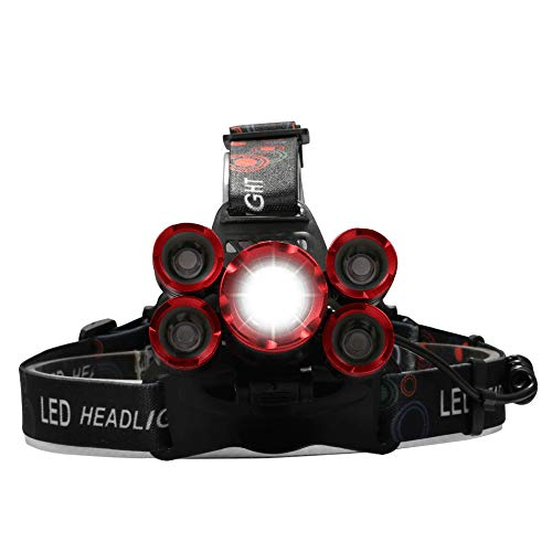 zhenxin Linternas Frontales Led 60000 Lumens Led Headlamp 5*t6 Headlight 4mode Torch Head Lamp Flashlight For Camping Light+AC/DC Charger