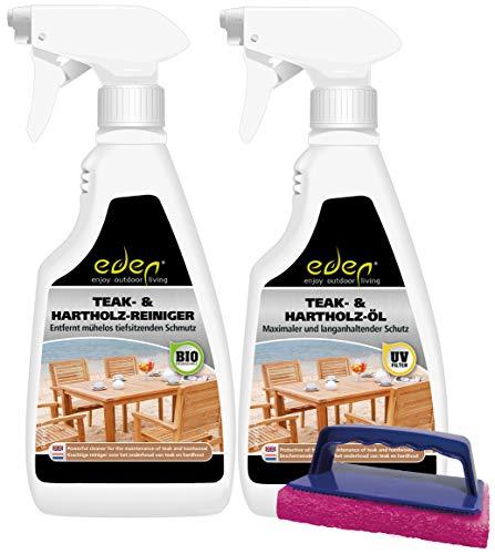 Eden Products Int. Eden Pflegekit für Harthölzern wie Teak, Robinie, Mahagoni, Buche, Eiche und Bangkirai: NATÜRLICHE Farbe