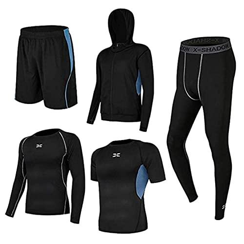 BRAVOSOLEIL Männer Gym Kleidung Fitness Compression T-Shirt Mit Leggings Shorts Hoodies Lauf Kit Anzug Für Sport Blau S 5pcs