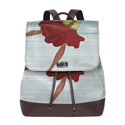 Women Leather Backpack Christmas Ice Skater Winter, Schoolbag Casual Daypack School Travel Bag Satchel Laptop Backpacks for Women