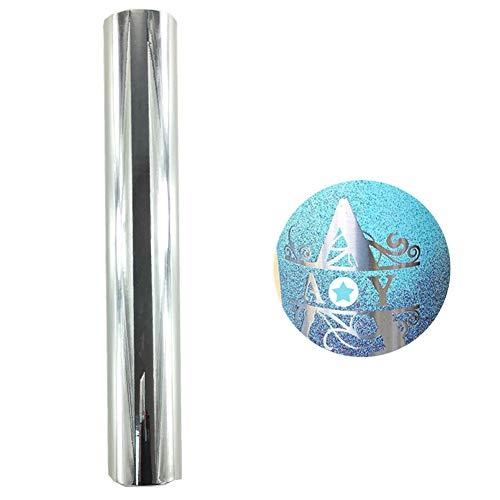 Redodeco Glänzende holografische Opal-Vinyl-Chrom-Klebefolie, permanente Vinylfolie, Rolle, 30x 152 cm silber