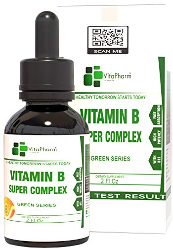 Vitamin B Super Complex. High Potency B Complex Liquid Drops with Fast Absorption. B2,B3,B5,B6 and B12 Vitamins. Fight Stress and Anxiety.More Than B12 1000 mcg.for Men,Women and Children