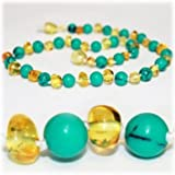 The Art of Cure Original Baltic Amber Necklace (Man-Made Turquoise & Lemon) 12-12.5 Inches