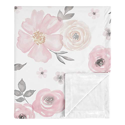 Sweet Jojo Designs Shabby Chic Rose Flower Watercolor Floral Baby Girl Receiving Security Swaddle Blanket for Newborn or Toddler Nursery Car Seat Stroller Soft Minky - Blush Pink, Grey and White