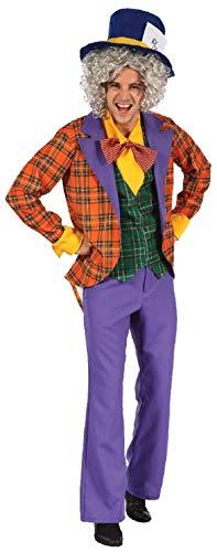 Uomo 4 Pezzi Cappellaio Matto + Cappello Alice nel Paese delle Meraviglie Festa Del Libro Settimana Variopinto Abito Costume Halloween