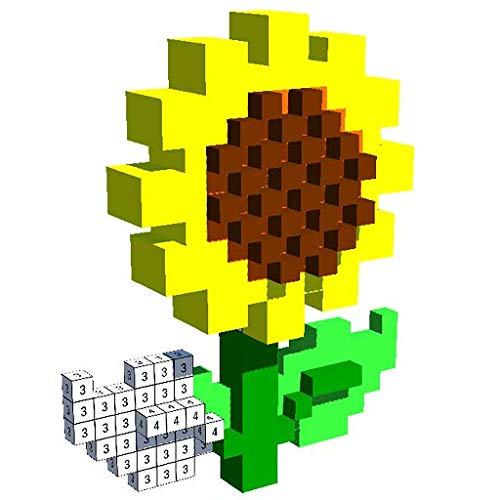 Flower Voxel - 3D Color by Number, Pixel Art 3D Coloring Book