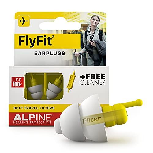 Alpine FlyFit Tapones para los oídos para avión - Regulan la presión del aire para prevenir el dolor de tímpano - Filtros suaves diseñados para viajar - Hipoalergénico cómodo - Tapones reutilizables