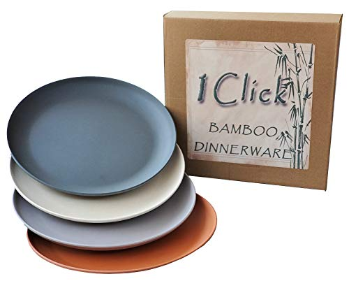 1 Click Salat-/Dessert-Teller, aus Bambusfaser, mehrfarbig, modernes Bambus-Geschirr, für Innen- und Außenveranstaltungen, 4 Stück