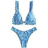 ZAFUL Women's Spaghetti Strap Tie Back Ruffle Triangle Bikini Set Swimsuit (D-Blue, M)