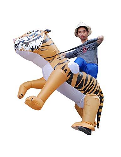 Leezeshaw Aufblasbarer Tiger, Tier-Kostüm, für Erwachsene, aufblasbar, wilder Tiger, für Party, Halloween, Cosplay
