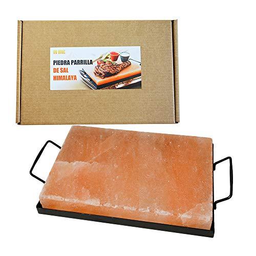 Salz Grillsteine, Himalaya Salzstein zum Grillen 20x30x4 mit Halter, BBQ