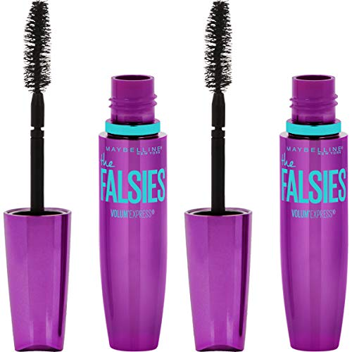 Volumizing, Lengthening Waterproof Mascara, Very Black, by Maybelline Volum' Express The Falsies Clump-Free Formula for Thicker, Fuller Lashes, 2 Count