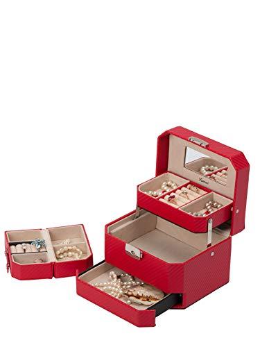 IsmatDecor - Caja Joyero para Mujer – Organizador de joyas de 3 Niveles - Mini Estuche de Viaje incluido - Espejo y Cierre con llave – Acabado de alta calidad
