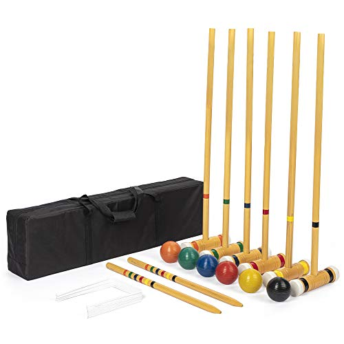 Six-Player Deluxe Croquet Set with Wooden Mallets, Colored Balls, & Sturdy Carrying Bag - Classic...