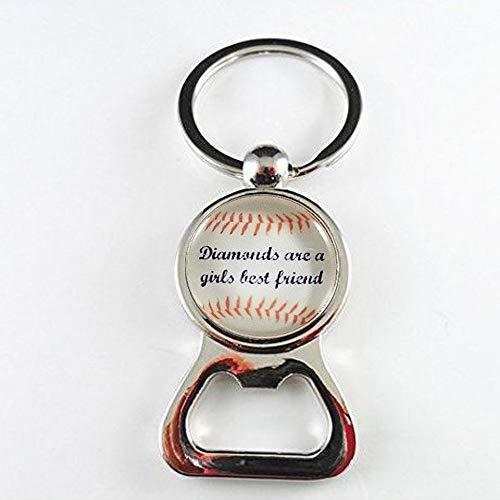 Damen Baseball Flaschenöffner Mädchen Baseball Geschenk Glasflaschenöffner Team Geschenke Diamonds Are a Girl\'s Best Friend Damen Baseball Fan
