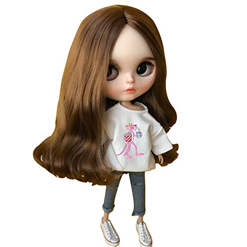 DoubleWood 1/6 Fashion Doll Clothing Handmade Casual Carton T-Shirt + Jeans/Pants Replacement for Blythe Doll, Dress Up Accessories Doll Clothes Compatible with Blythe ICY Pullip Doll (Pan White)