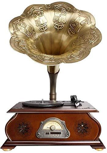TYX-SS Hi-Fi y Audio para el hogar Conectividad inalámbrica Sala de Estar Big Horn Altavoz de Disco de Vinilo Retro Vintage Forma de fonógrafo Decoración del hogar