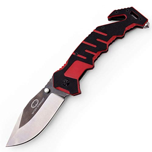 WITHARMOUR Folding Knife Best Pocket Folding Knife Rescuer for Men with High Carbon 440C Blade and Two Tone G-10 Handle with Nylon Sheath for Tactical Outdoor Survival Camping Rescue and Self Defense