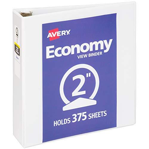 "Avery 2"" Economy View 3 Ring Binder, Round Ring, Holds 8.5"" x 11"" Paper, 1 White Binder (5731)"