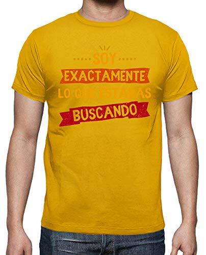 latostadora - Camiseta Soy Exactamente para Hombre Amarillo Mostaza 4XL