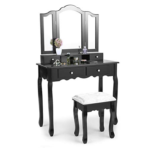 YYAO Makeup Vanity Set Dresser Furniture with Three-Fold Mirror & 4 Drawers,Stylish Roman Column Makeup Vanity Table and Cushioned Stool Set Dressing Table,Black