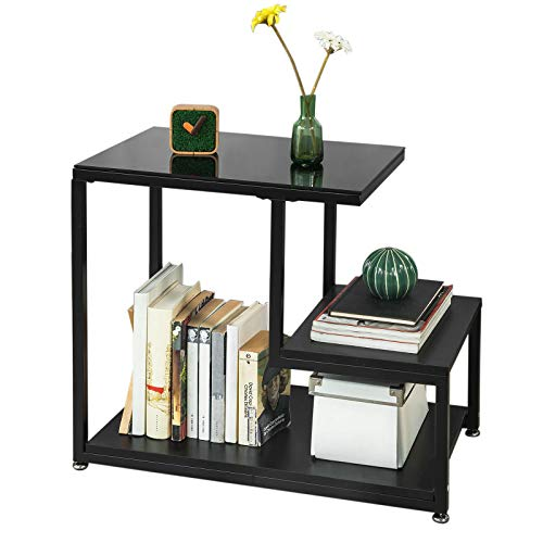 SoBuy® FBT65-SCH, Side Table End Table Coffee Table Living Room Table with Storage Shelf, Black