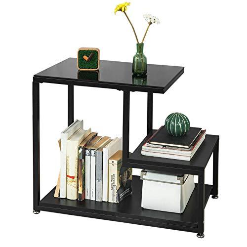 SoBuy FBT65-Sch Bout de Canapé Table d'appoint Tables Basses avec 3 étagères de Rangement - Noir
