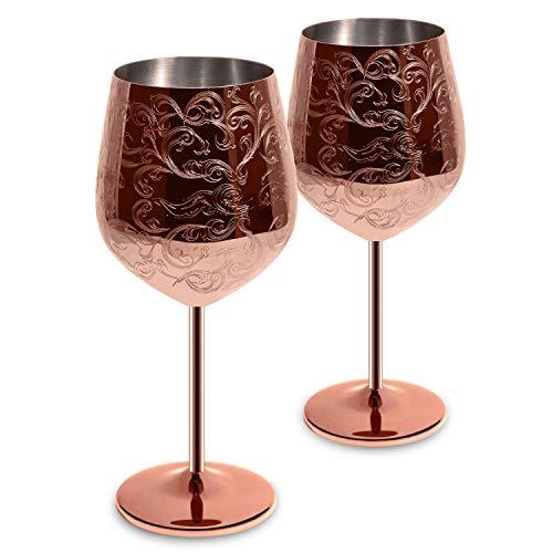 SKY FISH Set di 2 calici da Vino in Acciaio Inossidabile incisi con Intricate e autentiche incisioni barocche, Bicchiere da Vino in Stile Reale 17oz (Rame)