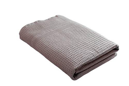 Gilden Tree Premium Waffle Weave Bath Towel 100% Natural Cotton Quick Dry Lint Free Soft Luxurious Fabric Solid Colors Oversized Thin Cloth Fade Resistant (Pewter)