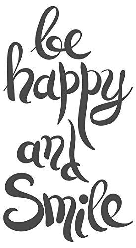 Wandtattoo Spruch Be happy and smile Schriftzug auf Englisch Wanddeko Wandbild