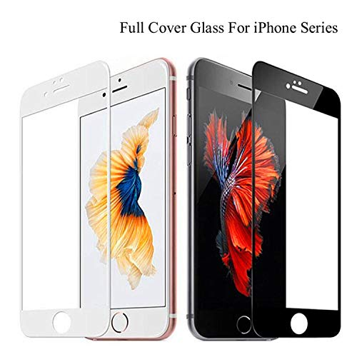 PmseK Protector de Pantalla,Vidrio Templado,9H Full Coverage Cover Tempered Glass For iPhone 6 6S Plus Screen Protector Protective Film For iPhone 7 8 Plus X XS 5 5S 5C SE For iPhone 7 Black