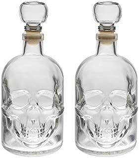 slkfactory 2Botellas vacías 500ml de Cristal Botella Calavera Fabricado en Alemania Calavera Pirata Cráneo de Cristal de 0,5l L cráneo Botellas de Licor Whisky Jarra Botella de chupito